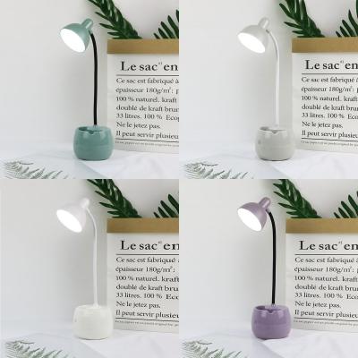 Flexible Gooseneck LED Desk Light Pen Holder Design USB Charging Port Reading Light with Bowl Shade