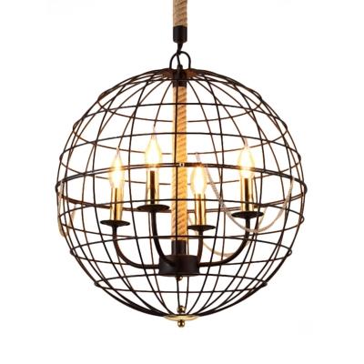 Industrial Orb Caged Hanging Lights Metal 3/4 Lights Black Chandelier for Living Room Kitchen