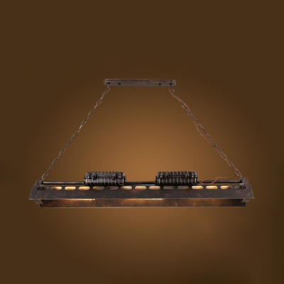 Linear Chandelier Pool Table 6 Lights Vintage Industrial Metal Hanging Light in Rust