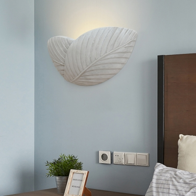 Living Room Bedroom Leaf Wall Light Cement Single Light Antique Style Gray Sconce Light for Bedroom Foyer