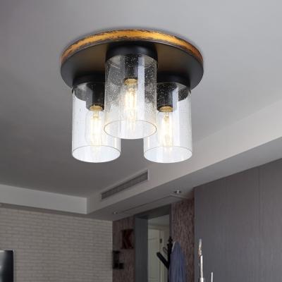 Metal and Glass Cylinder Ceiling Light Kitchen Dinging Room 3 Lights Industrial Flush Ceiling Light