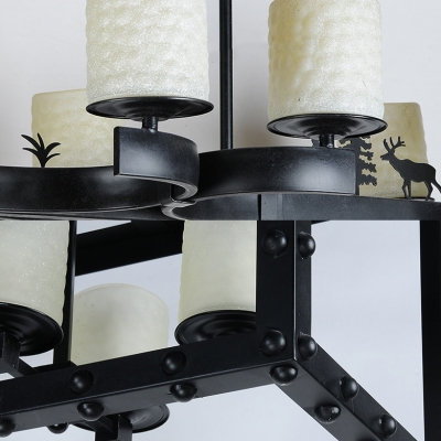 Metal and Glass Pendant Lamp with Cylinder Shade 8 Lights Modern Chandelier with Deer Decoration in Black