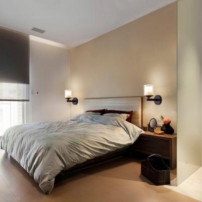 Metal and Glass Wall Light Bedroom Foyer Single Light Modern