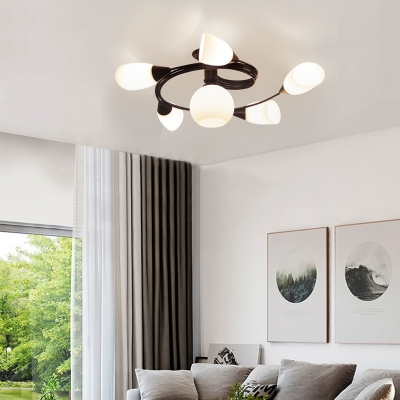 Metal Black Semi Flush Mount Light