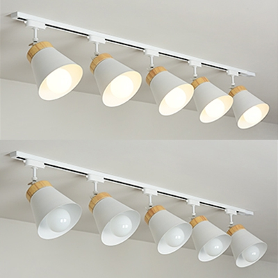 Metal Tapered LED Ceiling Lamp 3/4/5 Lights Simple Style Rotatable Track Lighting in White for Shop