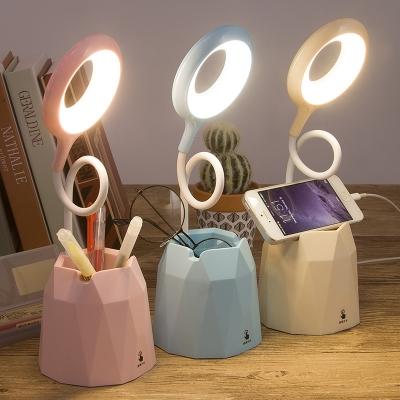 Pen Holder Design LED Desk Light Mobile Charger/Plug In Reading Light with Flexible Gooseneck for Bedroom