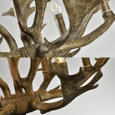 Resin Candle Chandelier with Antlers Decoration 6 Lights Rustic Style Pendant Lamp for Living Room