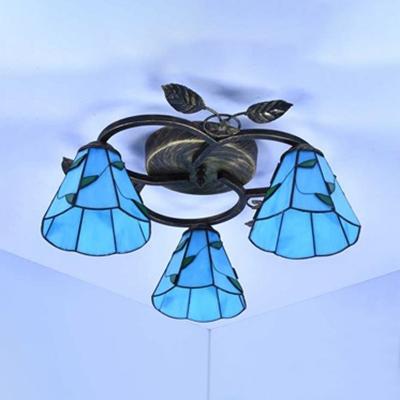 Rustic Cone Ceiling Semi Flush Mount Light Beige/Blue Glass 3 Lights Overhead Light for Bedroom