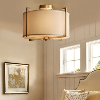 Rustic Style Drum Ceiling Lamp Fabric 4 Lights White Semi Flush Ceiling Light for Bedroom