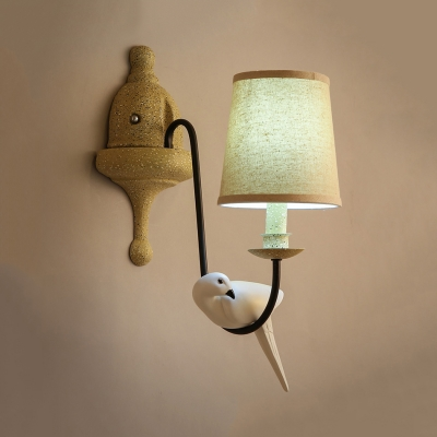 Rustic Style White Sconce Light with Tapered Shade and Bird Decoration Single Light Wood Sconce Wall Light