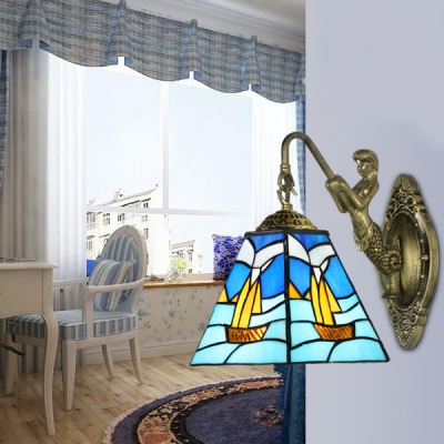 Stained Glass Boat Sconce Light 2 Lights Tiffany Style Wall Lamp with Mermaid for Bedroom