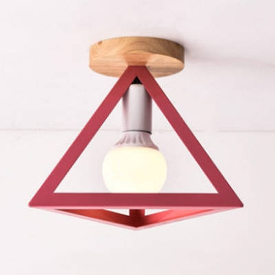 Triangle Semi Flush Mount Modern Metal 1 Light Ceiling Light for Bedroom in Black/Green/Red/Yellow