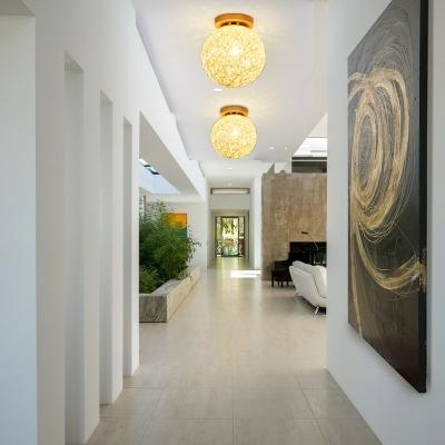 White/Beige/Flaxen Globe Ceiling Light Fixture Contemporary Rattan 1-Light Semi Flush Light for Hallway