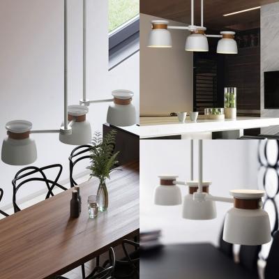 White Bowl Shape Island Light 3 Lights Industrial Metal Ceiling Light for Living Room