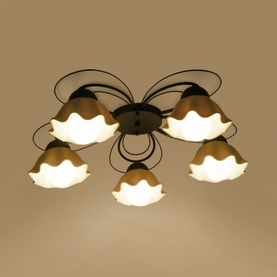White Flower Shade Semi Flush Mount Light 3/5/6 Lights Contemporary Metal Light Fixture for Bedroom Dining Room