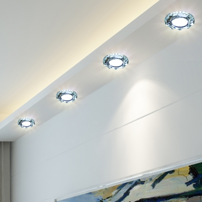 (10 Pack)2-3 Inch Round Recessed Light with Clear Crystal 3W Wireless Elegant Ceiling Light Recessed in White/Warm
