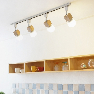 3/4 Lights Rotatable Ceiling Light Simple Style Wood LED Track Lighting in Beige for Shop Gallery
