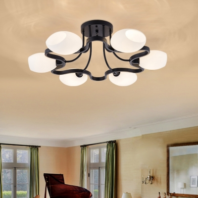 Rustic Style Oval Shape Semi Flush Mount Light Metal Frosted Glass 4/6/8/10 Lights Black and White Light Fixture for Bedroom