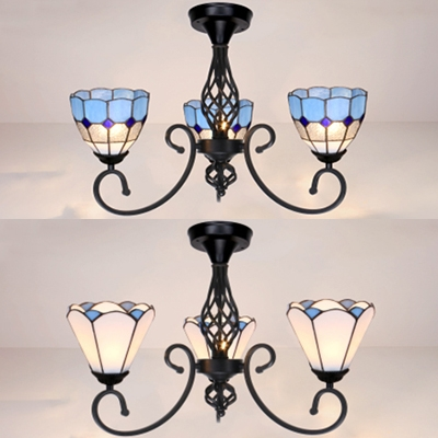 Antique Style White/Blue Ceiling Light Cone 3 Lights Glass Semi Flush Mount Light for Kitchen