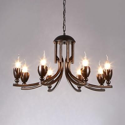 Black Candle Chandelier Metal 8 Lights Vintage Hanging Lights for Dining Room