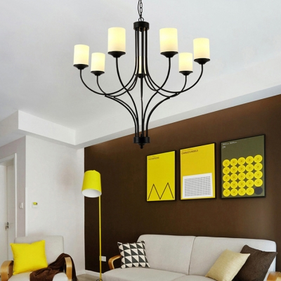 Black Cylinder Pendant Chandelier 7 Lights Antique Style Metal and Frosted Glass Suspension Light for Living Room