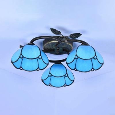 Blue/Beige/White Glass Ceiling Lamp 3 Lights Rustic Dome Semi Flush Mount Light for Restaurant