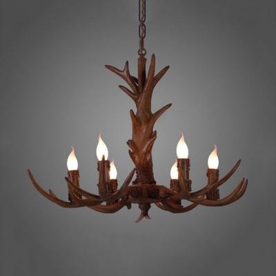 Candle Shape Dining Room Chandelier with Deer Decoration Resin 6/9 Lights Vintage Style Pendant Light