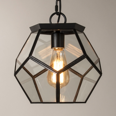 Classic Polyhedron Light Fixture Metal Clear Glass 1 Light Black and Brass Pendant Light for Bedroom Kitchen
