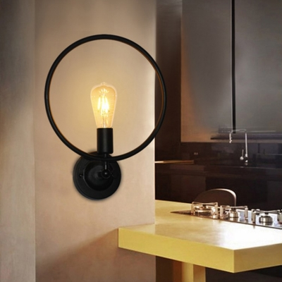 Dining Room Restaurant Ring Wall Sconce Metal Single Light Industrial Black Sconce Light