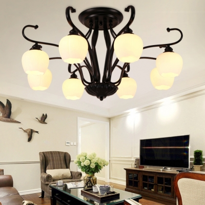 Fashion Melon Shade Semi Flush Ceiling Light Metal and Open Frost Glass 3/6/8 Lights Black Overhead Light for Dining Room