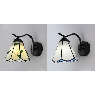 Glass and Metal Wall Lamp Living Room Hallway 1 Light Tiffany Sconce Light