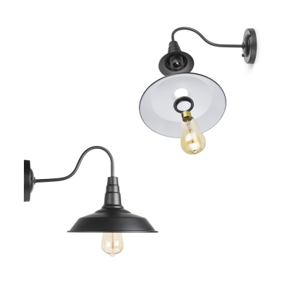 Pack of 2 Rustic Style Wall Light Metal 1 Light Black Wall Sconce with Barn Shade for Kitchen Bar