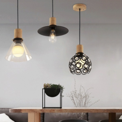 Industrial Cone Pendant Light Clear Glass Pendant Lighting for Dining Room