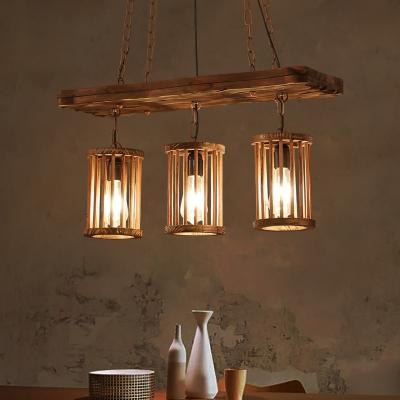 Industrial Island Pendant with Pillar 3 Lights Wood Island Pendant Light for Living Room