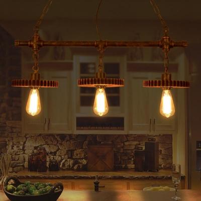 Industrial Saw Gear Pendant Light Metal 3 lights Rust Island Fixture for Dining Room