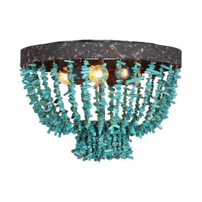 Living Room Bowl Shape Ceiling Light Metal 4 Lights Vintage Rustic