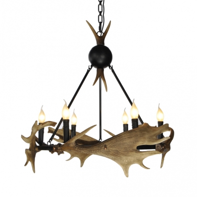 Metal and Resin Candle Chandelier with Antlers Decoration 6 Lights Antique Style Hanging Light