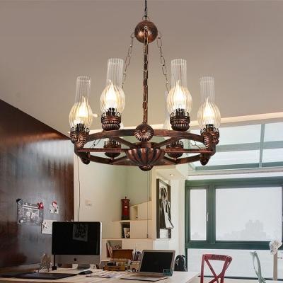 Metal Kerosene Hanging Light 6 Lights Vintage Style Chandelier Light in Rust for Coffee Shop Restaurant