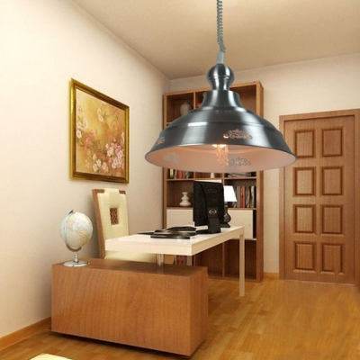 Nickle Dome Hanging Light Single Light Industrial Metal Pendant Lighting for Study Room