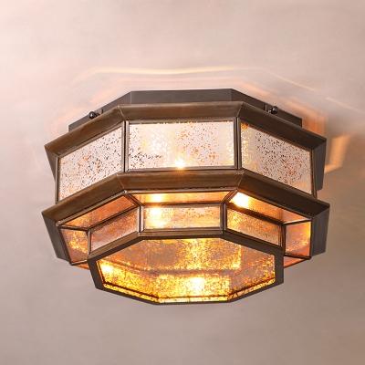 Octagon Flush Ceiling Light 3/4/6 Lights Antique Style 2 Glass Option Flush Mount Light for Living Room Bedroom