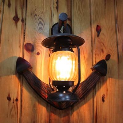 Rust Kerosene Hanging Lamp Outdoor Single Light Swirl Glass Sconce Wall Light with Anchor