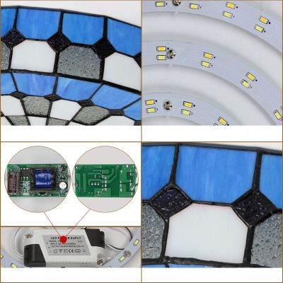 Stained Glass Drum Ceiling Fixture 1 Light Tiffany Style Flush Ceiling Light for Hotel