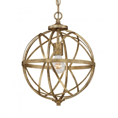 Strap Globe Pendant Light with Adjustable Chain 1-Light Vintage Rustic Metal Hanging Lamp in Gold Leaf
