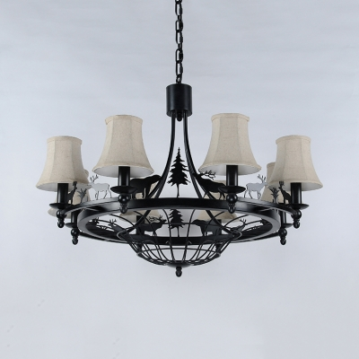 Tapered Shade Chandelier with Deer Decoration Metal 8 Lights Rustic Style Pendant Light in Black
