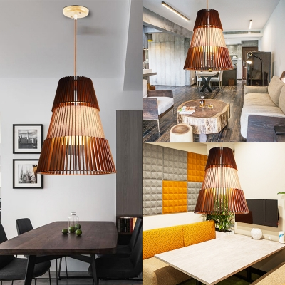 Vintage Style Flared LED Light Fixture Bamboo Single Light Brown Pendant Lighting for Coffee Shop