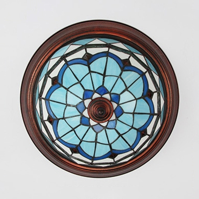 White/Blue/Clear Flush Mount Light Bowl Shape Tiffany Style Glass Light Fixture for Bedroom