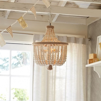 Wood Bowl Shape Chandelier Dining Room 3 Lights Rustic Style Pendant with Beads Decoration in White/Pink