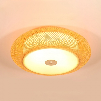 Wood Drum Shape Ceiling Light Fixture 2/3 Lights Antique Style Flush Mount Ceiling Light in Beige for Foyer