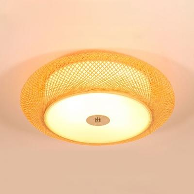 Wood Drum Shape Ceiling Light Fixture 2/3 Lights Antique Style Flush Mount Ceiling Light in Beige for Foyer