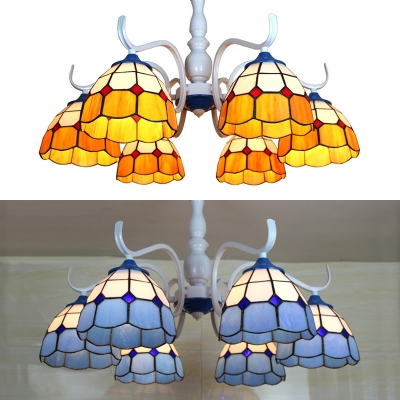 Yellow/Blue Dome Semi Ceiling Mount Light 6 Lights Tiffany Style Overhead Light for Hotel